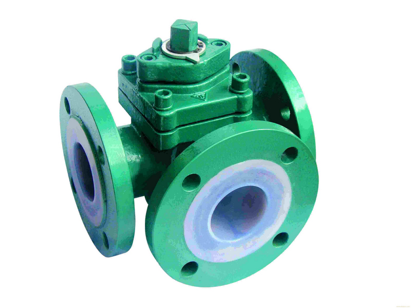 Lined three way plug valves