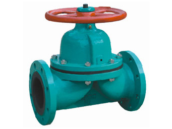 Rubber lined weir type diaphragm valve
