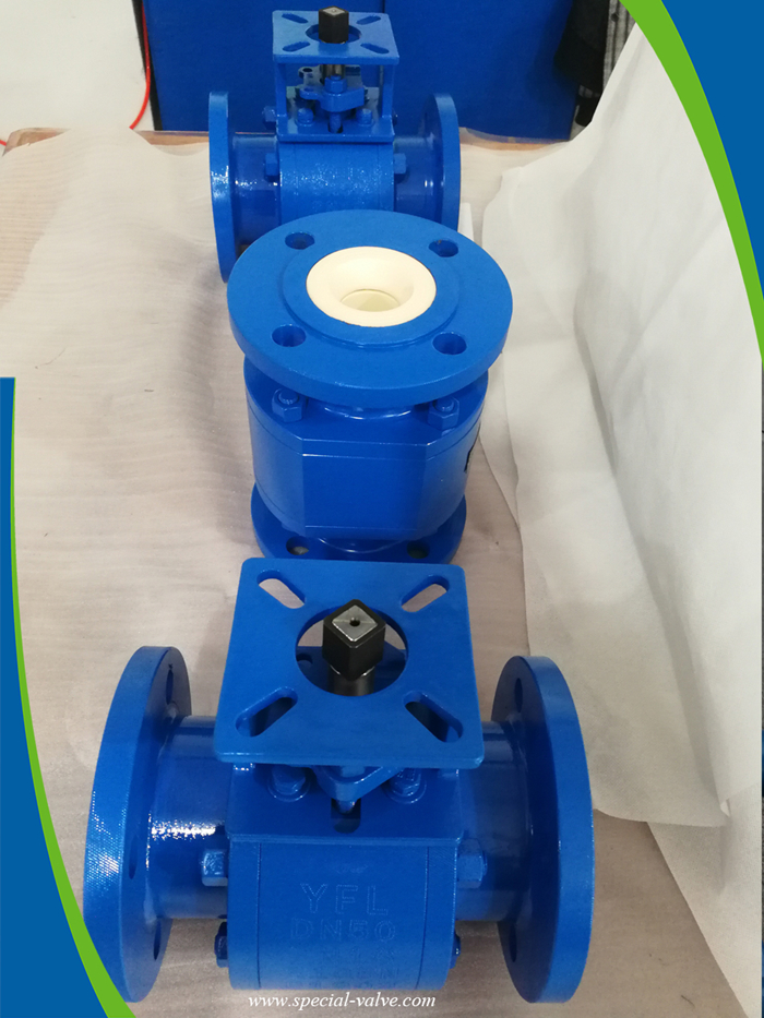abrasion resistant ceramic V--port ball valve for mining slurry