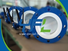 Lever operated PTFE Lined butterfly valve